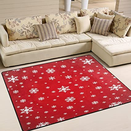 ALAZA Merry Christmas Snowflake Red Area Rug Rugs Mat for Living Room  Bedroom 7\'x5\'