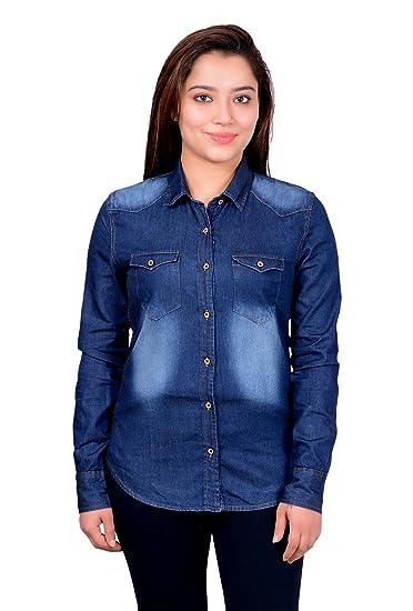 f00029e3ac MANGAL Girls and Women Denim Shirt  Amazon.in  Clothing   Accessories
