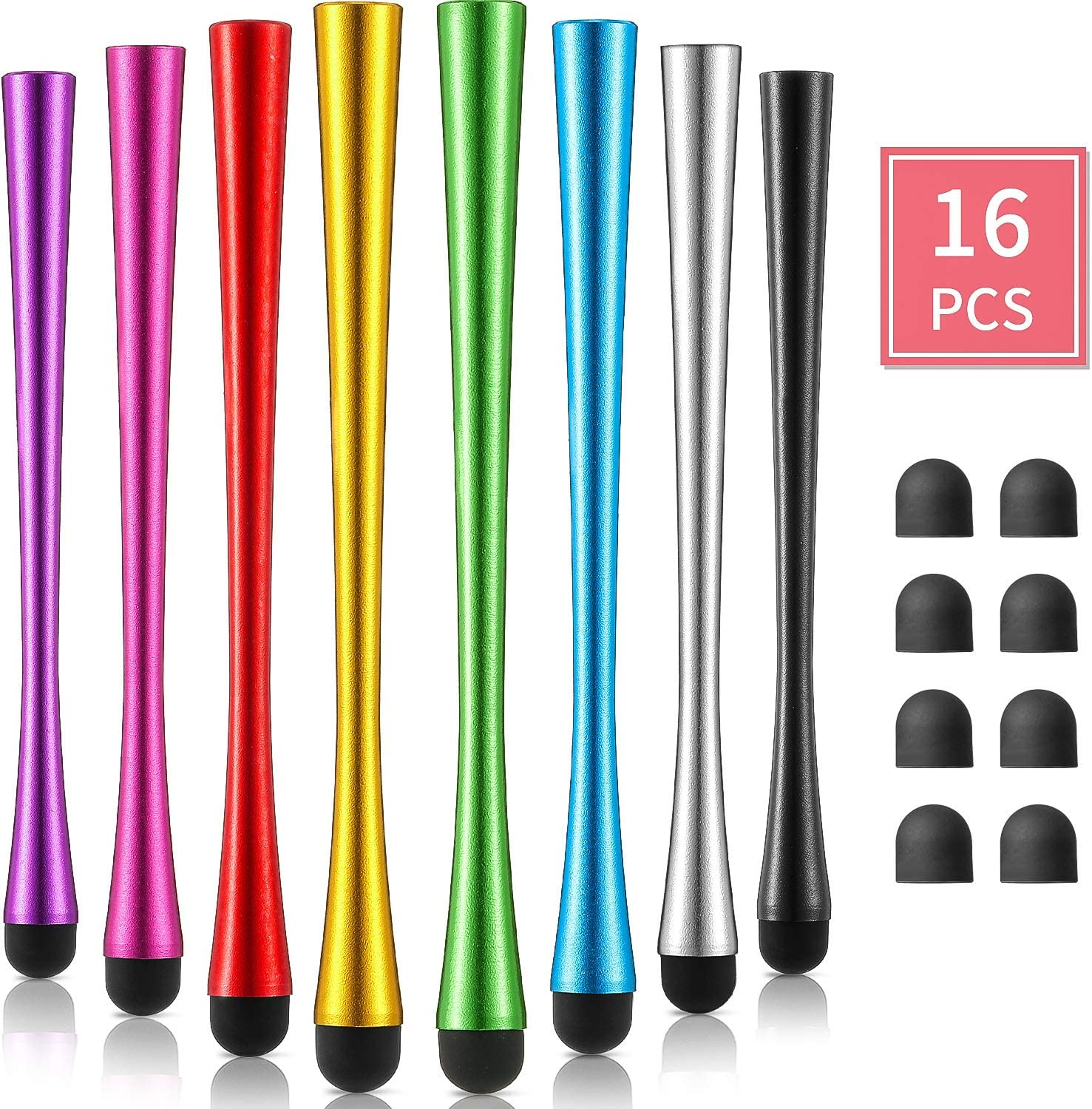 Outus 8 Pieces Slim Waist Stylus with 8 mm Fiber Tips Stylus Pens Capacitive Stylus for Touch Screens Devices Compatible with iPhone, iPad, Tablet (8 Colors)