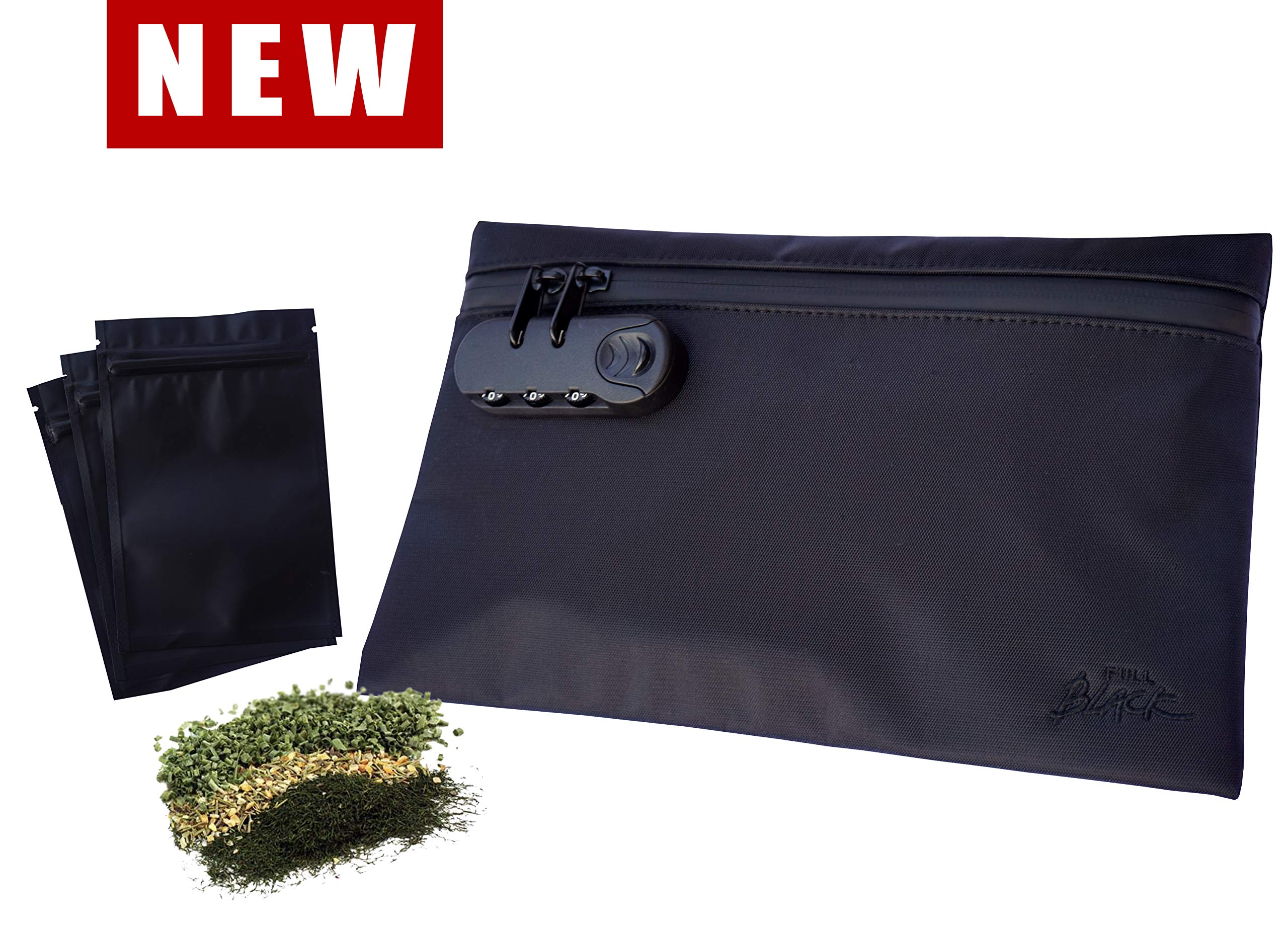 Smell Proof Bag + 3 Stash Bags - Dog Tested - Combination Lock, Carbon Odor Eliminator Lining, Water Resistant, 11x7'' Smellproof Odorless Stash Storage Pouch for Herbs, Vape Accessories, Rolling Paper by BellaTiz