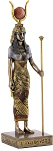 Top Collection Egyptian Hathor Statue- Mother of The Sky and Sun God Sculpture in Cold Cast Bronze- 8.75-Inch Figurine