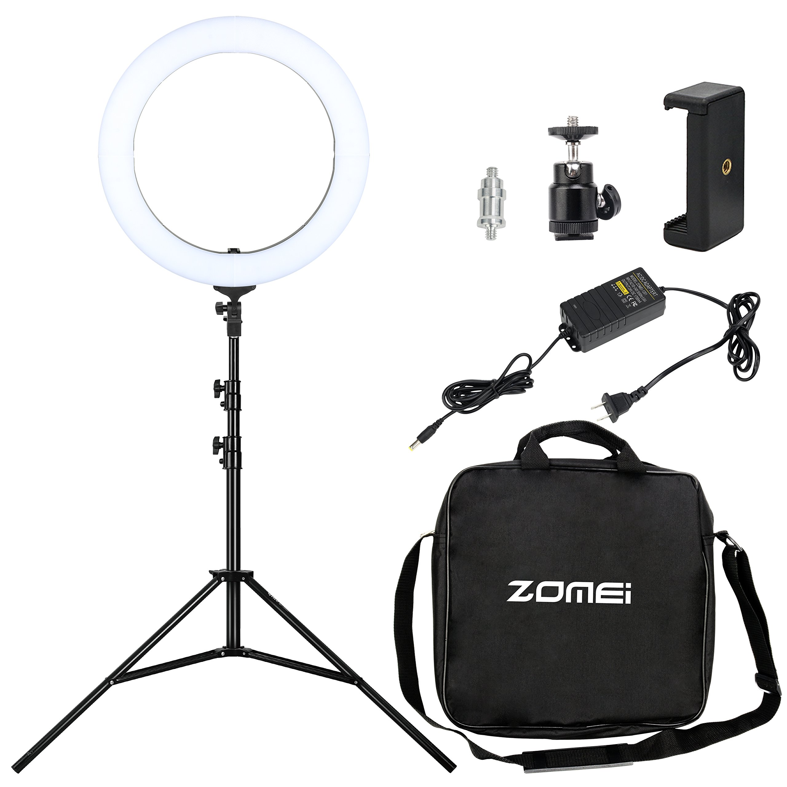 ZOMEI 18-inch LED Ring Light 58W 2700-5500K White Color and Orange Color Changing Directly Lighting Kit with Light Stand and Phone Holder for Makeup,Camera Smartphone Youtube Live Video Shooting by BONFOTO