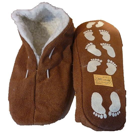 BOOM IT Echtleder/Veloursleder Hausschuhe mit Fell Innenfutter Mokassins Pantoffeln ABS-Stopper ab Gr: 35 (sch44)