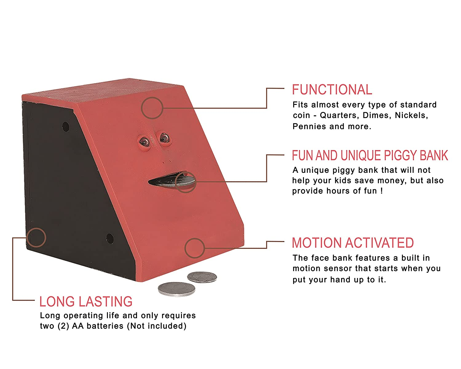 Face Bank - Coin Eating Savings Bank (Red): Amazon.co.uk: Toys & Games