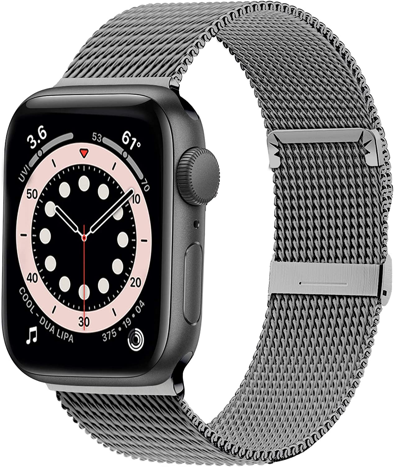 Ewsprou Magnetic Band Compatible with Apple Watch 38mm 40mm 42mm 44mm, Stainless Steel Mesh Strap Replacement for iWatch SE iWatch Series 6/5/4/3/2/1 Women Men (Spacy, 42mm 44mm)