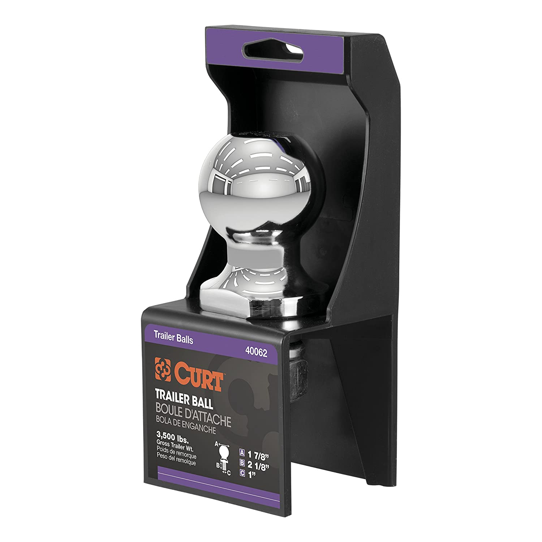 3,500 lbs. 1-7//8-Inch Diameter Tow Ball with 1-Inch x 2-1//8-Inch Shank CURT 40062 Chrome Trailer Hitch Ball