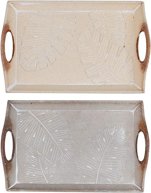 Juego de 2 bandejas decorativas con hojas decoradas – Decoración de mesa moderna para la vivienda – Regalo para mujeres: Amazon.es: Hogar