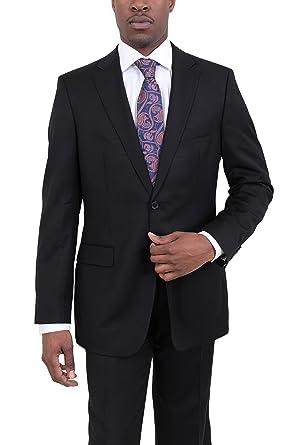 90e387f0c BOSS Hugo Pasolini/Movie Solid Black Super 100 Two Button Wool Suit - Black  -: Amazon.co.uk: Clothing