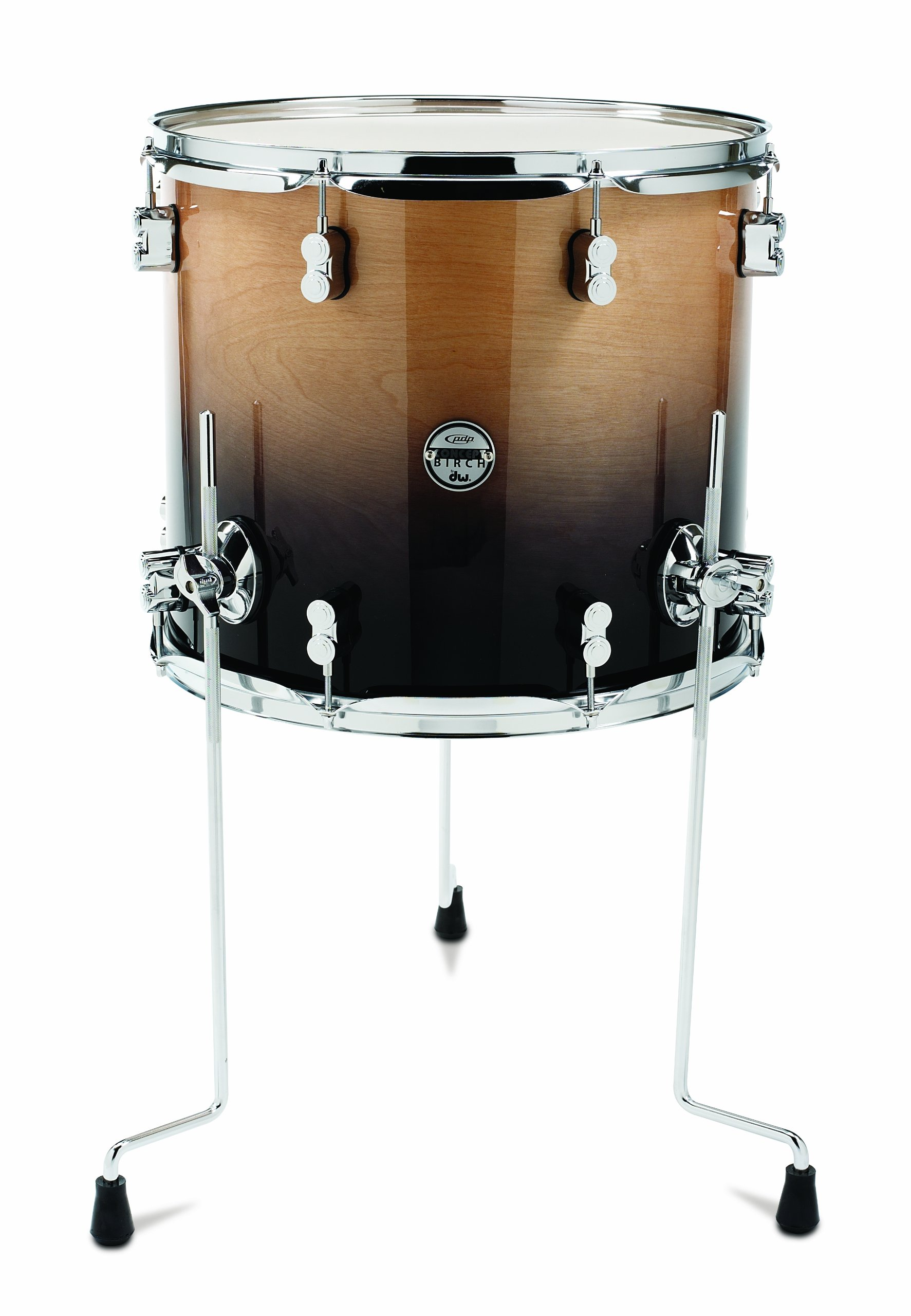 Pacific Drums PDCB1416TTNC 14 x 16 Inches Floor Tom with Chrome Hardware - Natural to Charcoal Fade