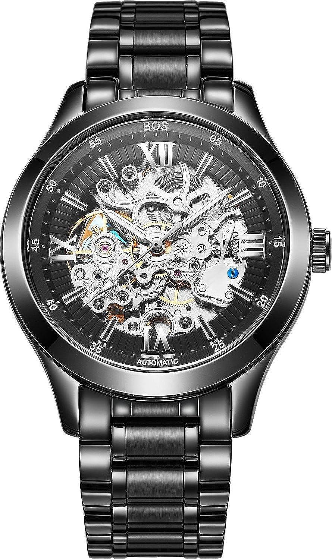 Angela Bos Herren Armbanduhr - mechanisch phosphoreszierende Zeiger - Skelettdesign mit schwarzem Zifferblatt - Stainless