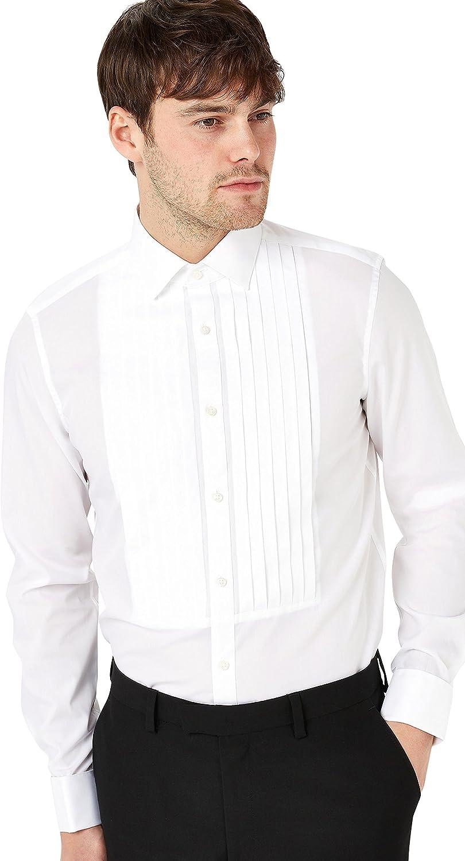 next Hombre Camisa Entallada Y Plisada con Puño Doble De Signature: Amazon.es: Ropa y accesorios