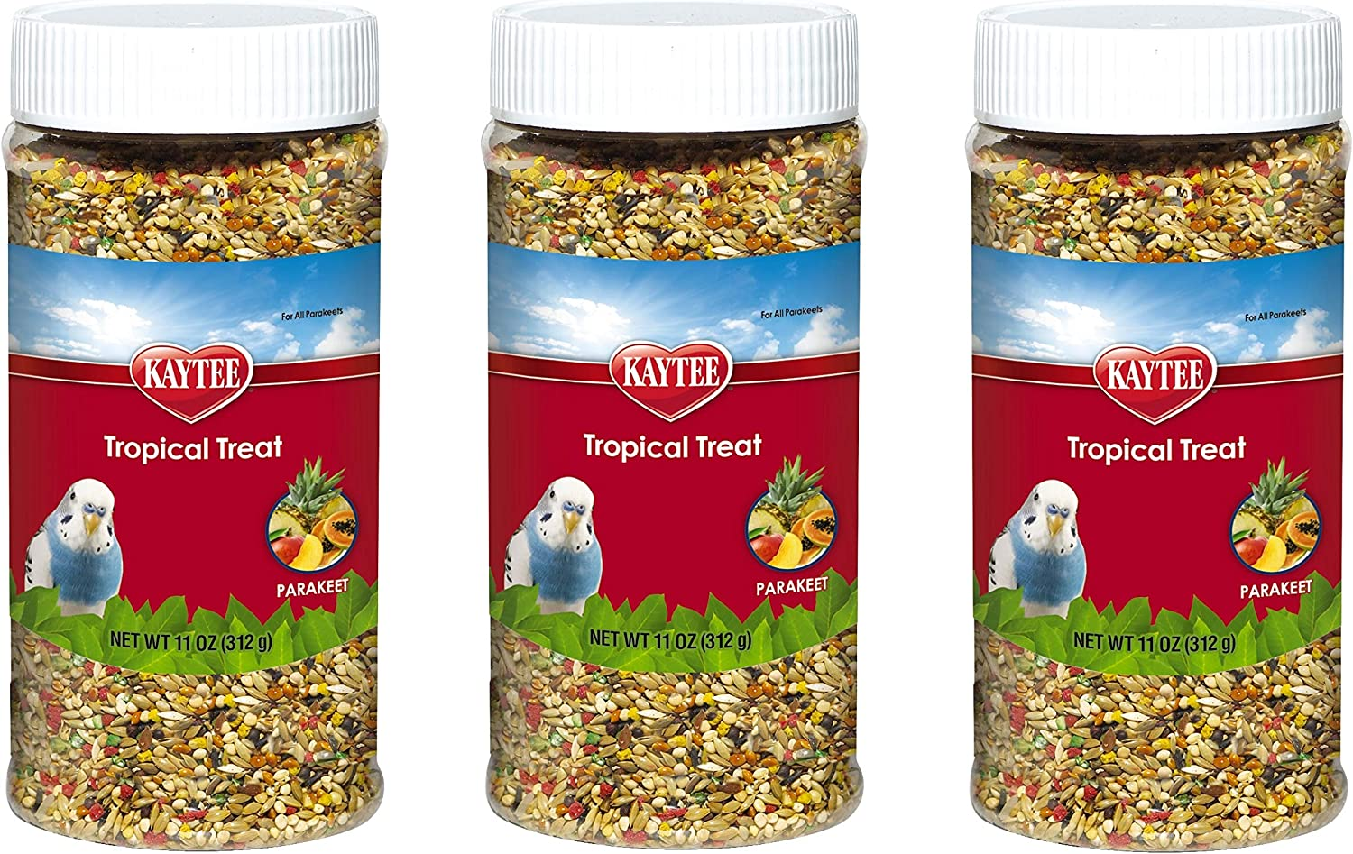 Kaytee 3 Pack of Tropical Treat, 11 Ounces each, Millet Grain and Fruit Snack for All Parakeets