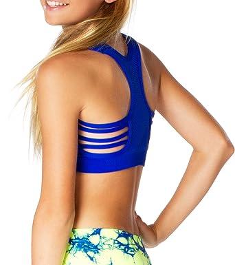 e3abb6a4346d26 Amazon.com  Malibu Sugar Girls (7-14) Side Line Sports Bra One Size Cobalt   Clothing