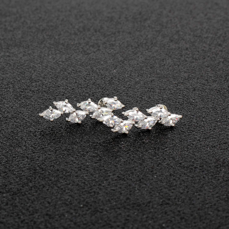 Platinum-Plated Zirconia Drop Earrings