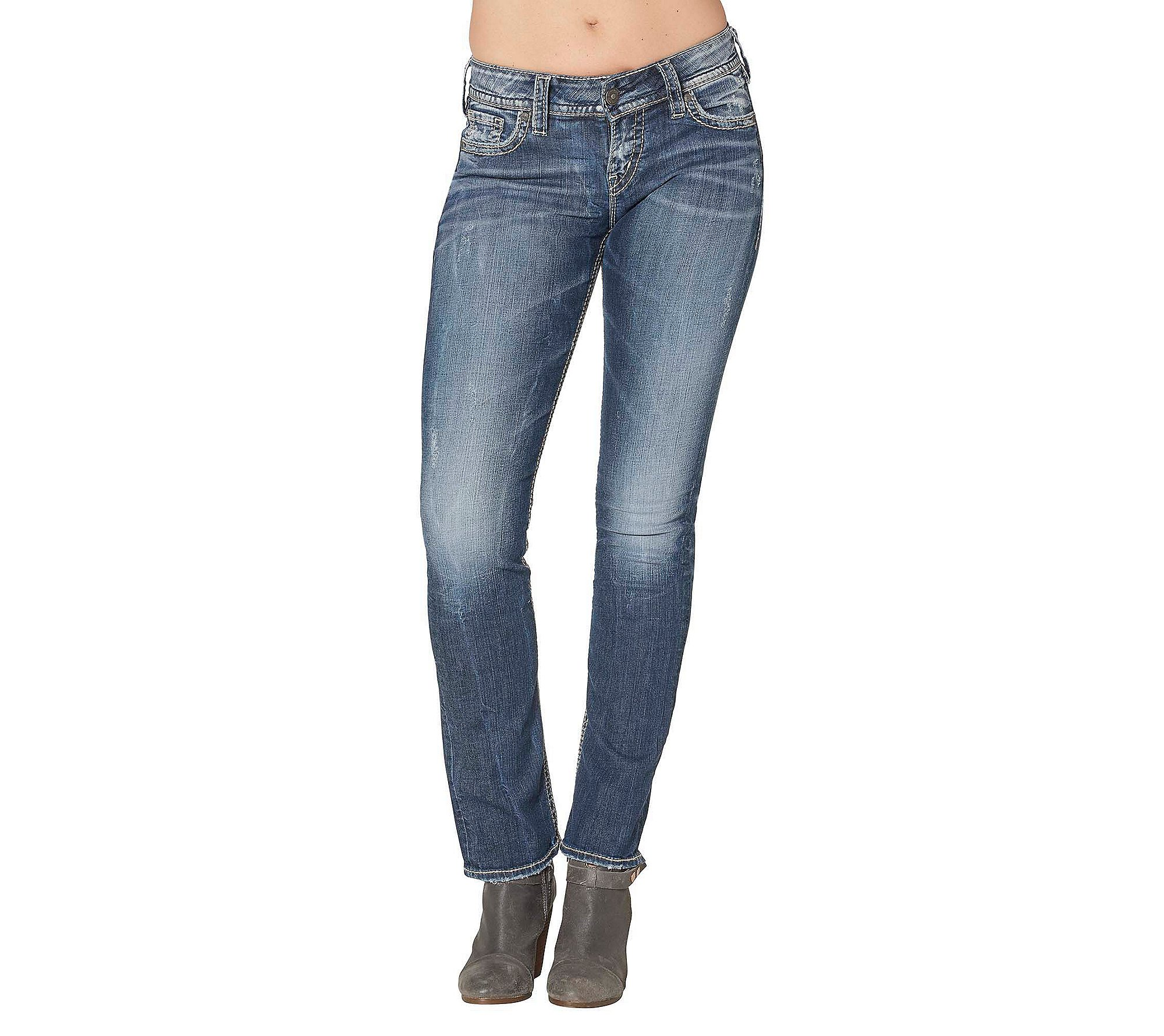 Silver Jeans Women's Suki Mid-Rise Straight Leg Jeans, Vintage Dark Wash With Lurex Stitch, 29x30