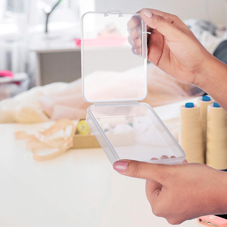 Hallazgos Hierbas Purpurina Pack de 24 Slime y Peque/ñas Art/ículos Plastico Almacenaje Caja - Transparente Contenedor de Abalorios 11cm x 8.9cm x 2,8cm de Grosor con Tapa para Pastillas
