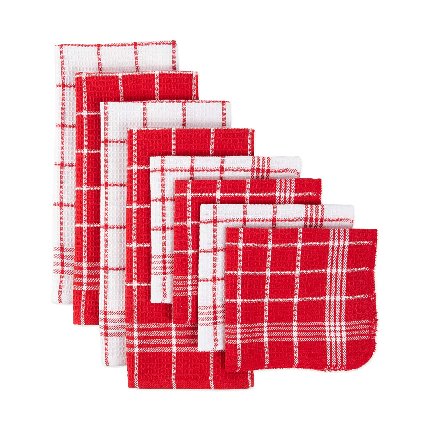 J&M Home Fashions 70328A Cotton Waffle Checkered Terry Set, Absorbent Durable Drying Cleaning Kitchen Towels, Dish Towels 13x13 Towels 18x25, Red 8 Pack