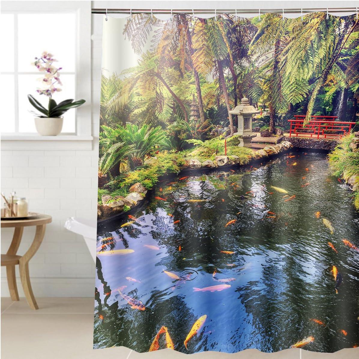gzhihine cortina de ducha de jardín japonés con natación Koi estanque de peces en accesorios de baño 72 x 84 pulgadas: Amazon.es: Hogar