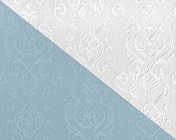 Papier Peint Baroque EDEM 83004BR60 Papier Peint Intissé à Peindre Texturé  Avec Des Ornements Mat Blanc