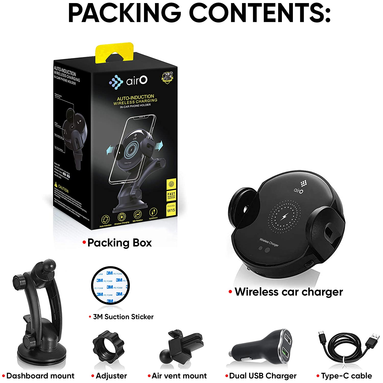 Wireless Car Charger Mount Auto Clamping 7.5W//10W Fast Charging Qi Car Phone Holder Holder Air Vent Dashboard Compatible for iPhone Xs//Xs Max//XR//X// 8//8 Plus Samsung Galaxy S10 //S10+//S9 //S9+//S8