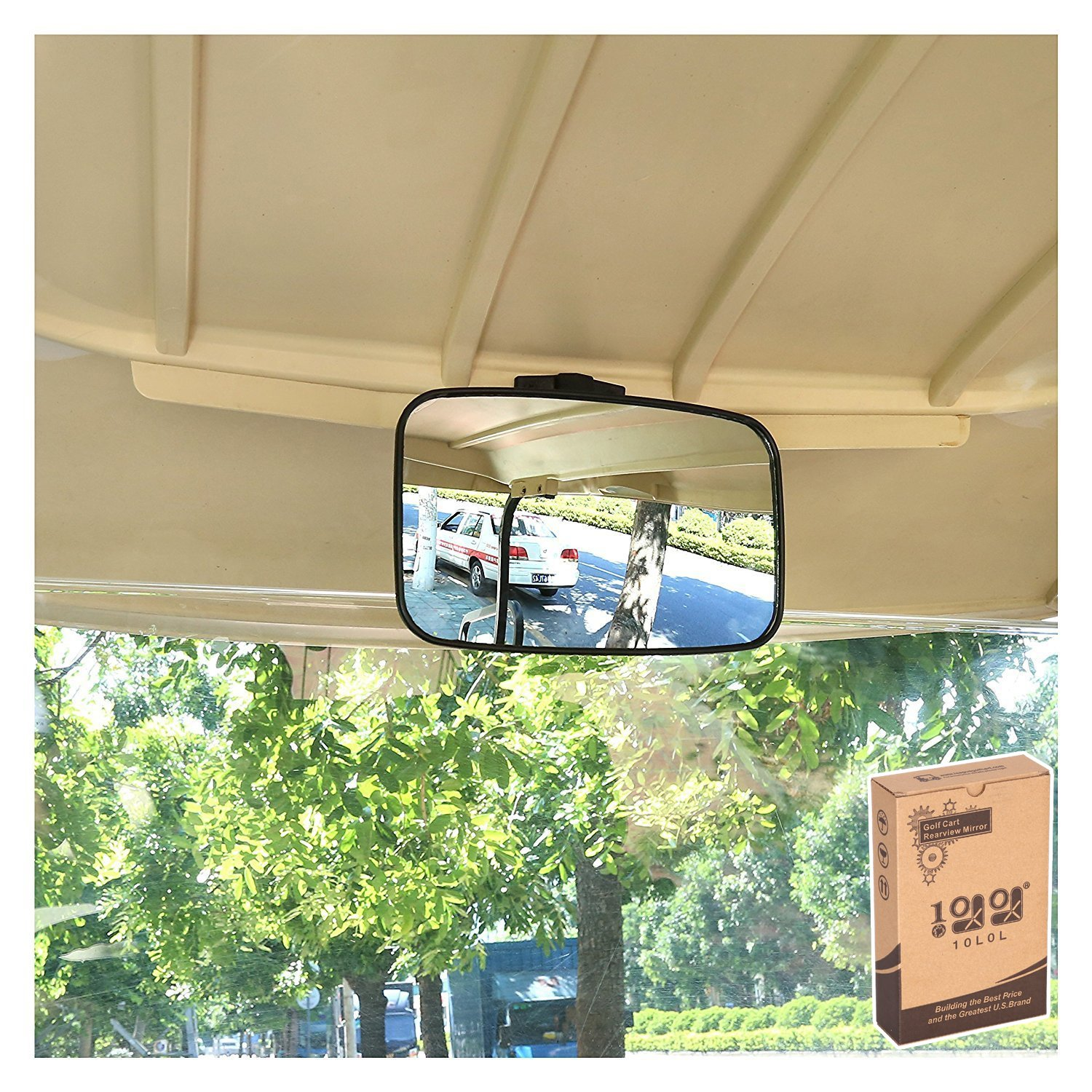 10L0L 9.57.5'' Large Radian Extra Wide Panoramic Rear View Mirror Black Fits for EZGO Yamaha Club Car Golf Cart by 10L0L