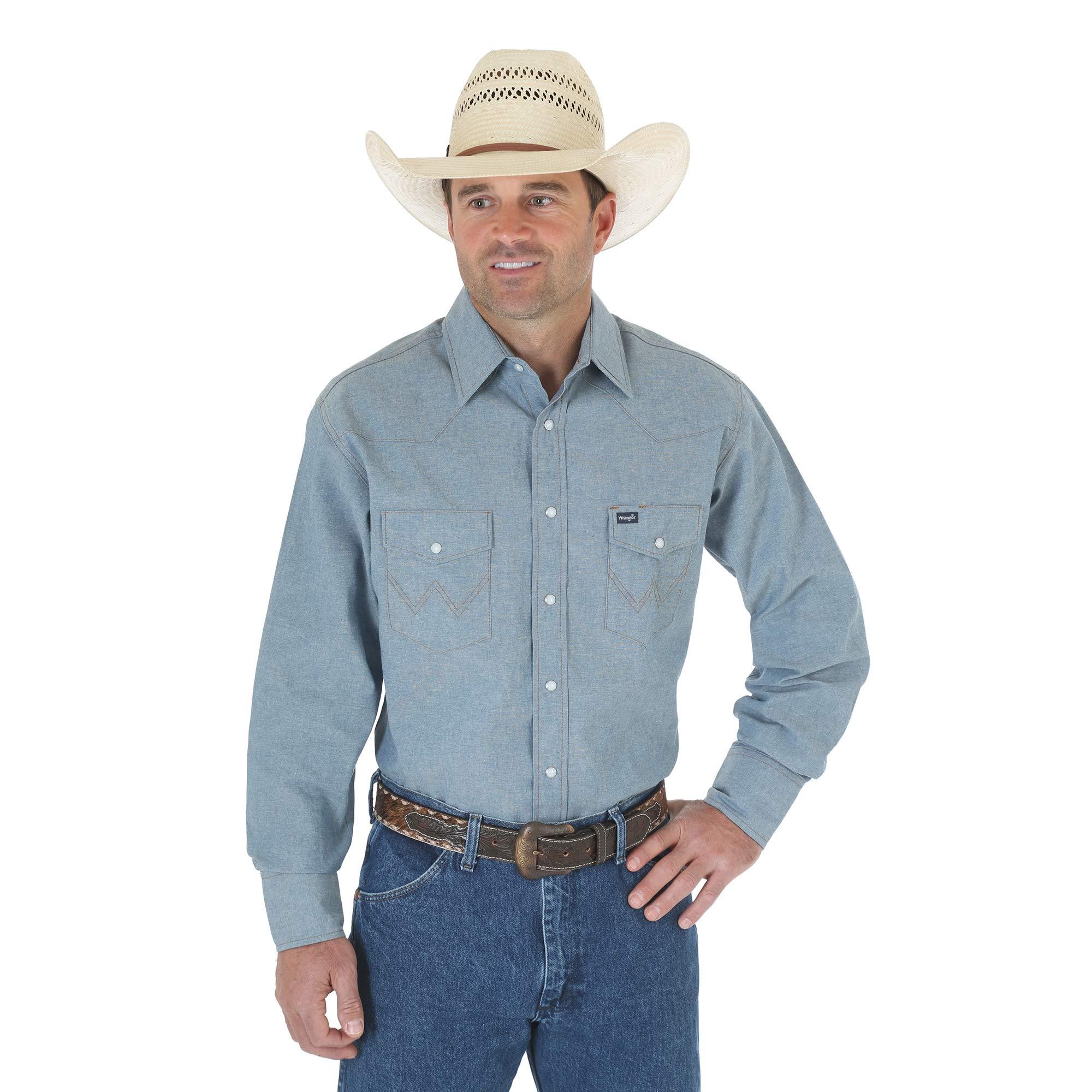 Wrangler Men's Big & Tall Western Work Shirt Firm Finish, Chambray Blue 3X Tall
