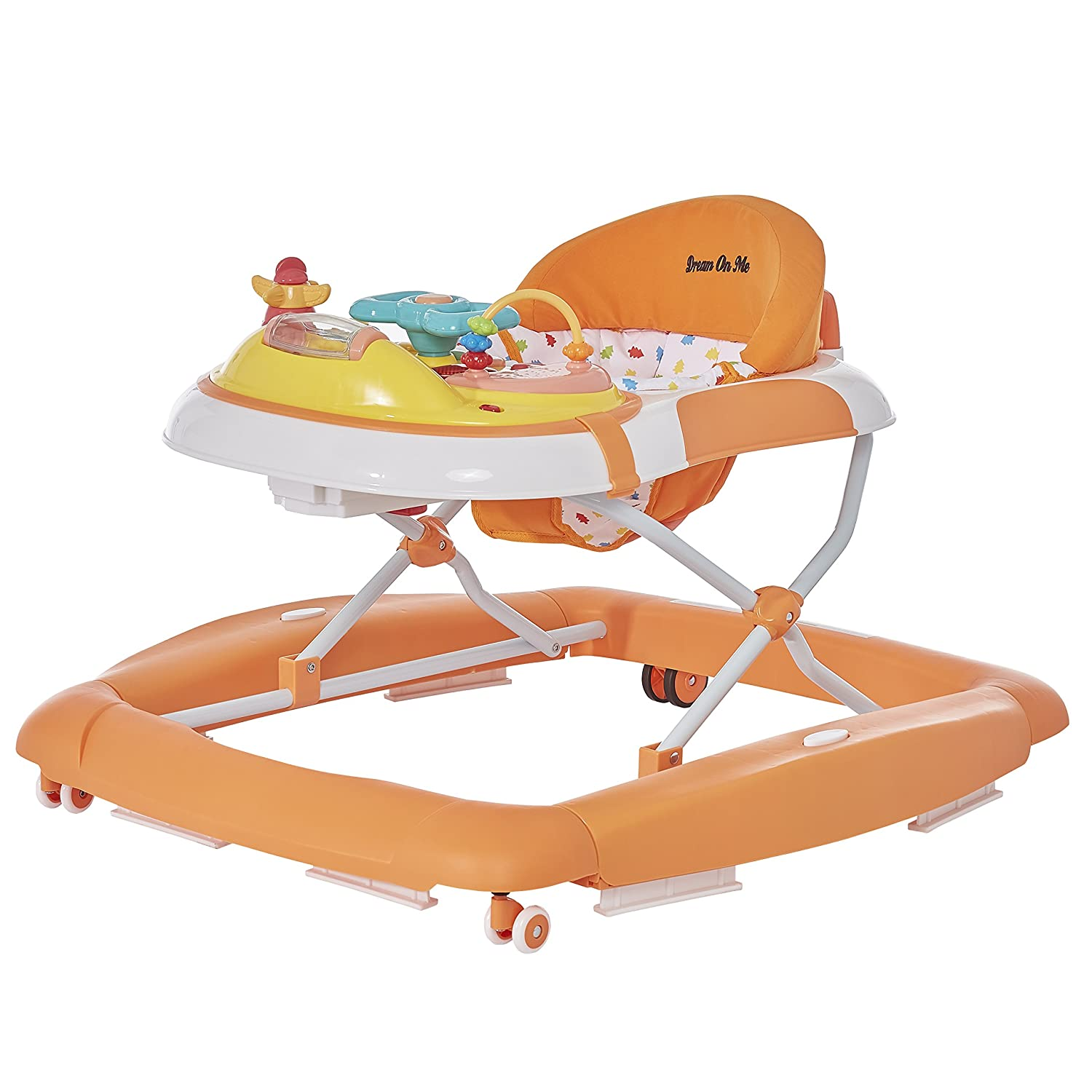 Dream On Me 2 in 1 Crossover Musical Walker, Orange/White