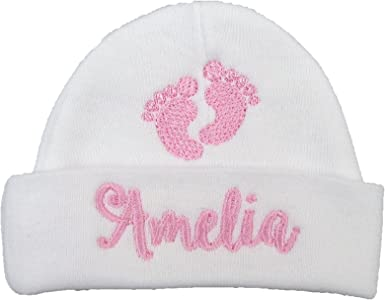 PERSONALISED EMBROIDERED NAME BABY HAT GIRL BOY WHITE NEWBORN 0-3 MONTHS GIFT