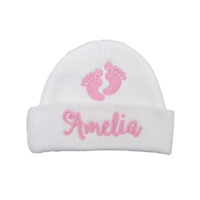 Ava s Miracles Personalized Baby Girl hat with Embroidered Footprints -  Preemie Girl hat 6b80f410700