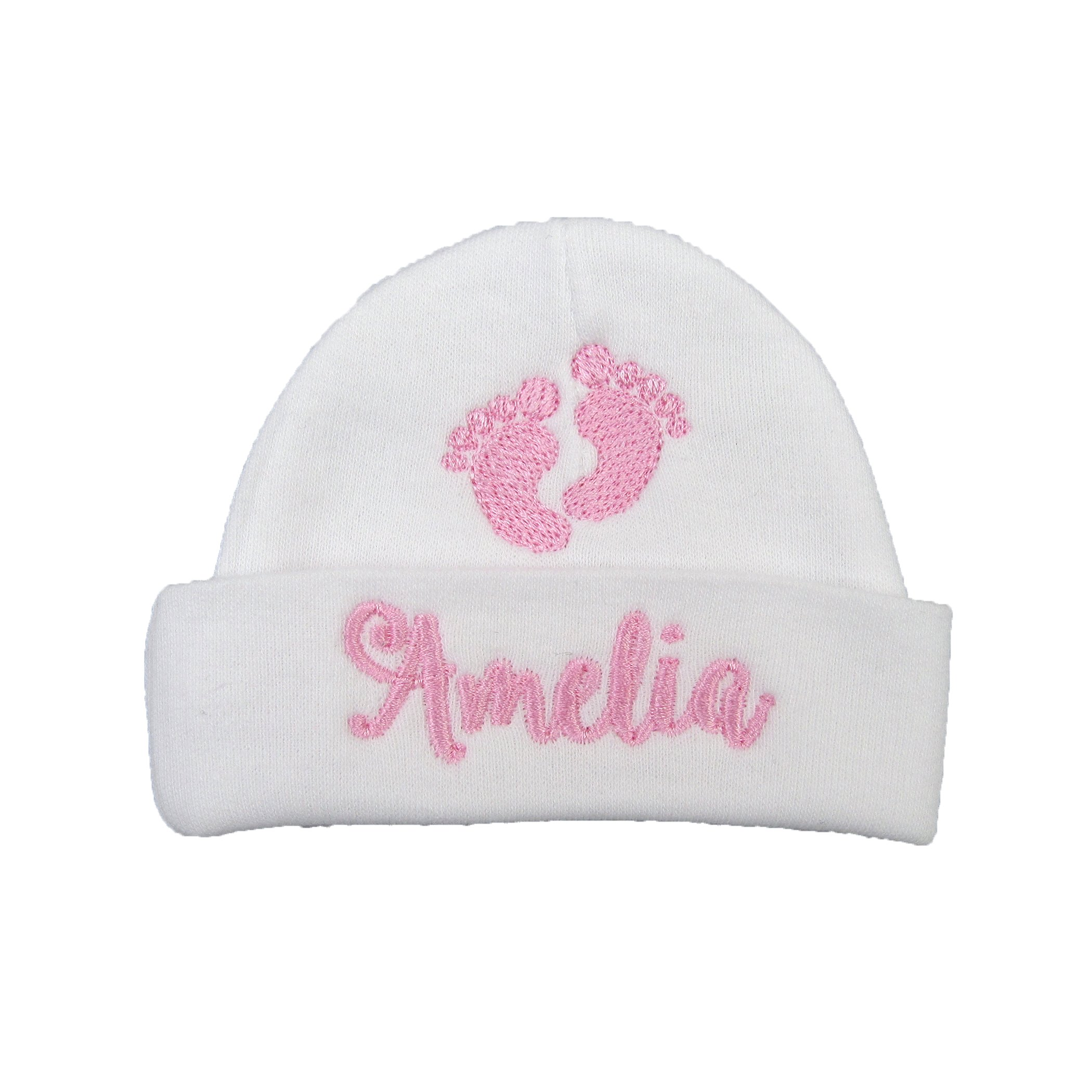 e897f30b7f4f1 Ava s Miracles Personalized Baby Girl hat with Embroidered Footprints -  Preemie Girl hat