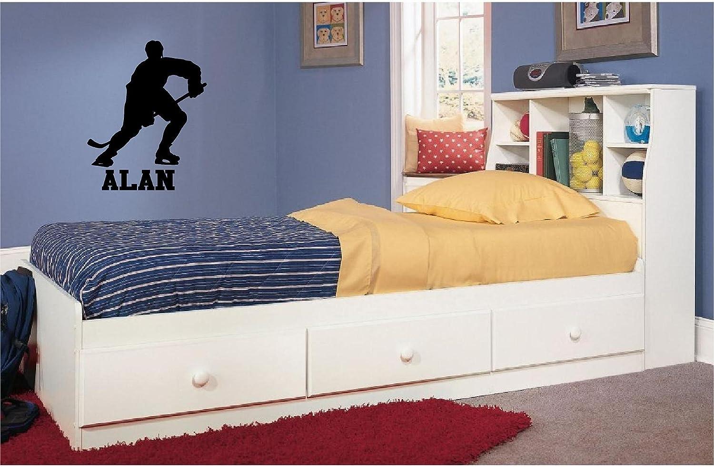amazon com hockey player silhouette w name custom boys vinyl amazon com hockey player silhouette w name custom boys vinyl wall decal decor black home kitchen
