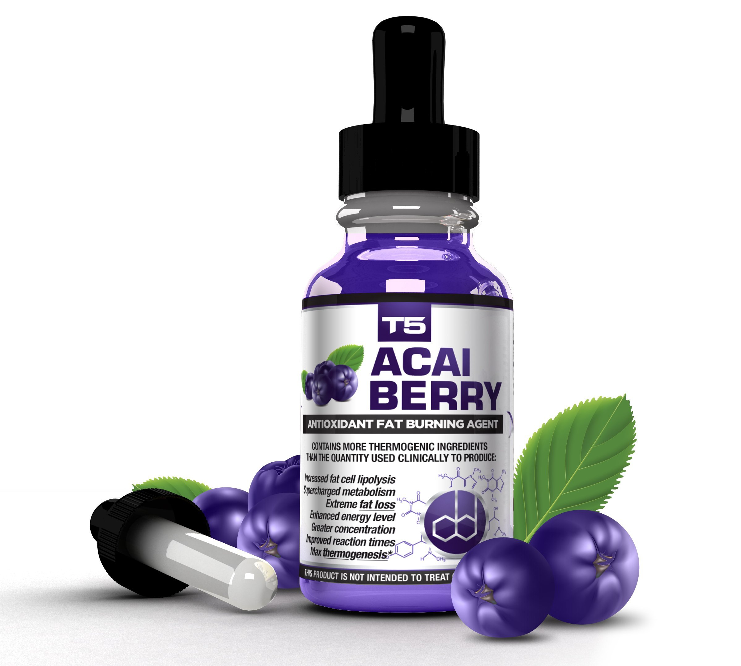 T5 Fat Burners Acai Berry Diet Drops : Maximum Strength Antioxidant Fat Burner - Fast Acting Weight Loss & Detox (1 Month Supply) by T5 Fat Burners