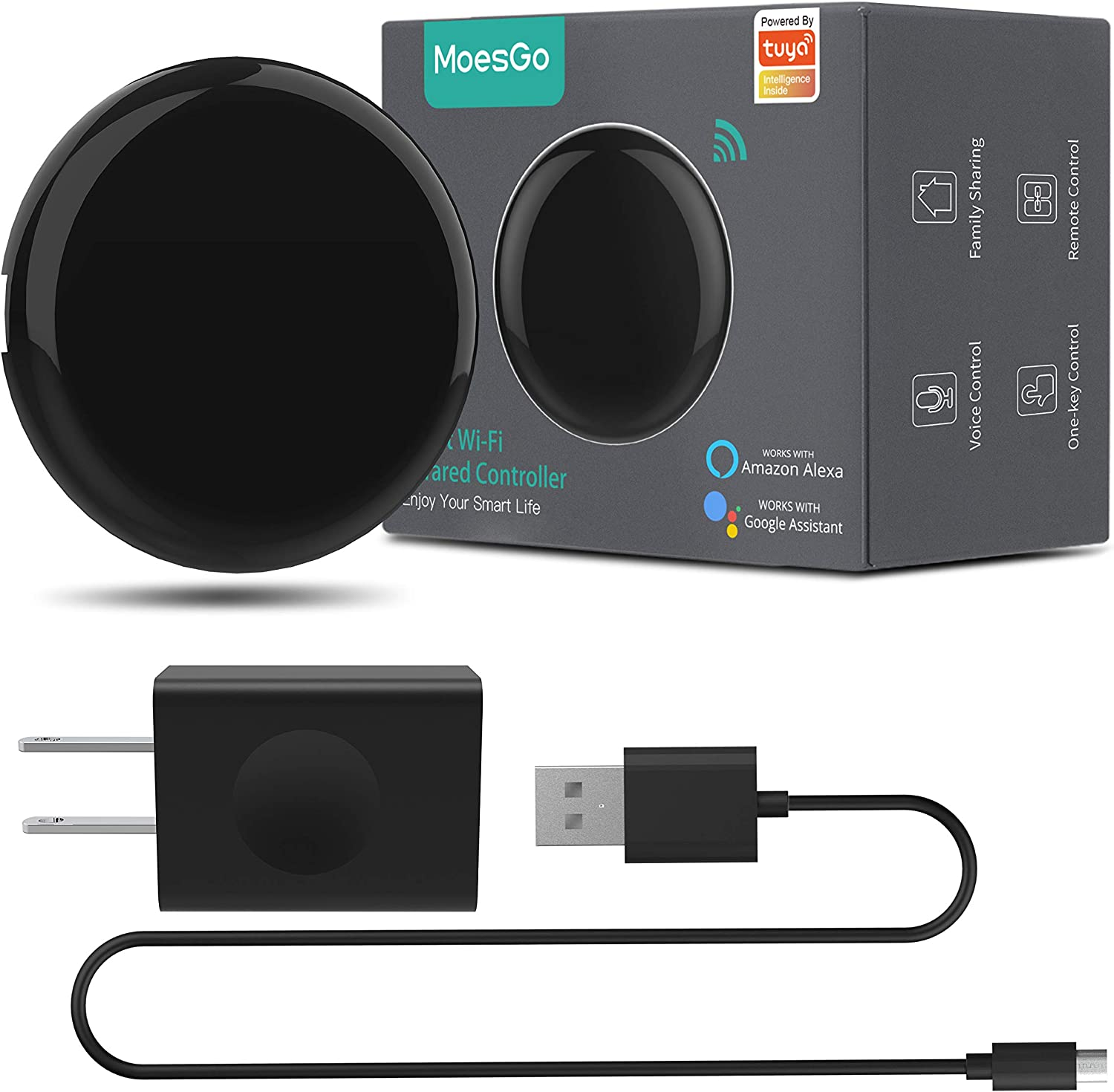 MoesGo WiFi IR Control Hub for Smart Appliances via Voice and Smart Life/Tuya App, Compatible with Amazon Echo and Google Home
