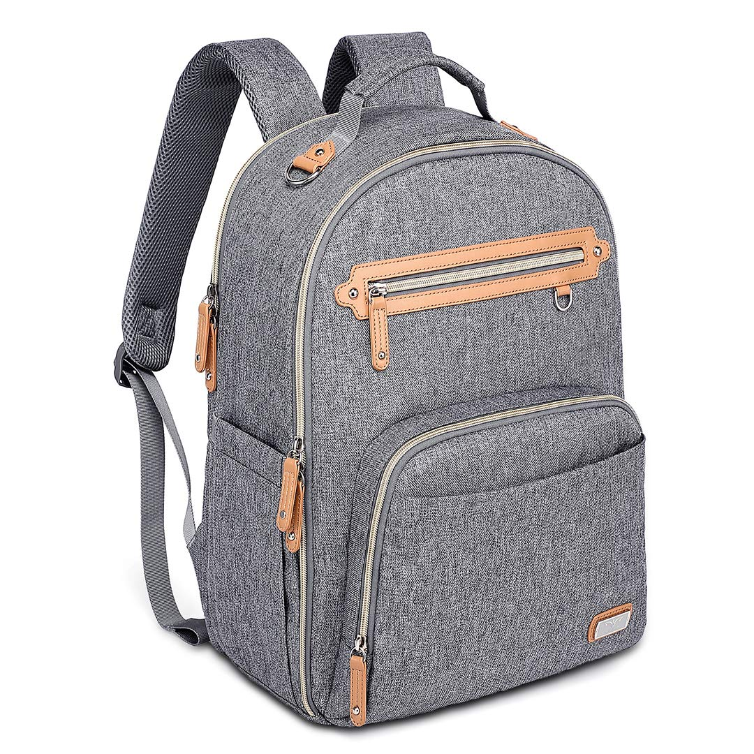 Diaper Bag Backpack, Large Unisex Baby Bags with Insulated Pockets & Changing Pad, WELAVILA Multi-Function Waterproof Travel Back Pack Maternity Changing Bags, Gray