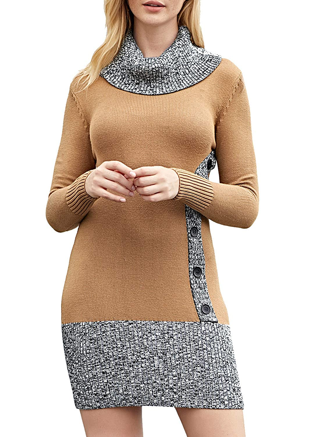 Brown Elapsy Womens Button Front Side Long Sleeve Knit Slim Fit Bodycon Sweater Dress