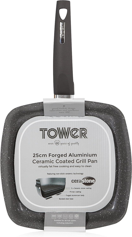 TOWER Sart/én CeraStone T80336GD con Revestimiento Forjado Antiadherente en el Interior cer/ámica Dorado 25/cm Cama Individual