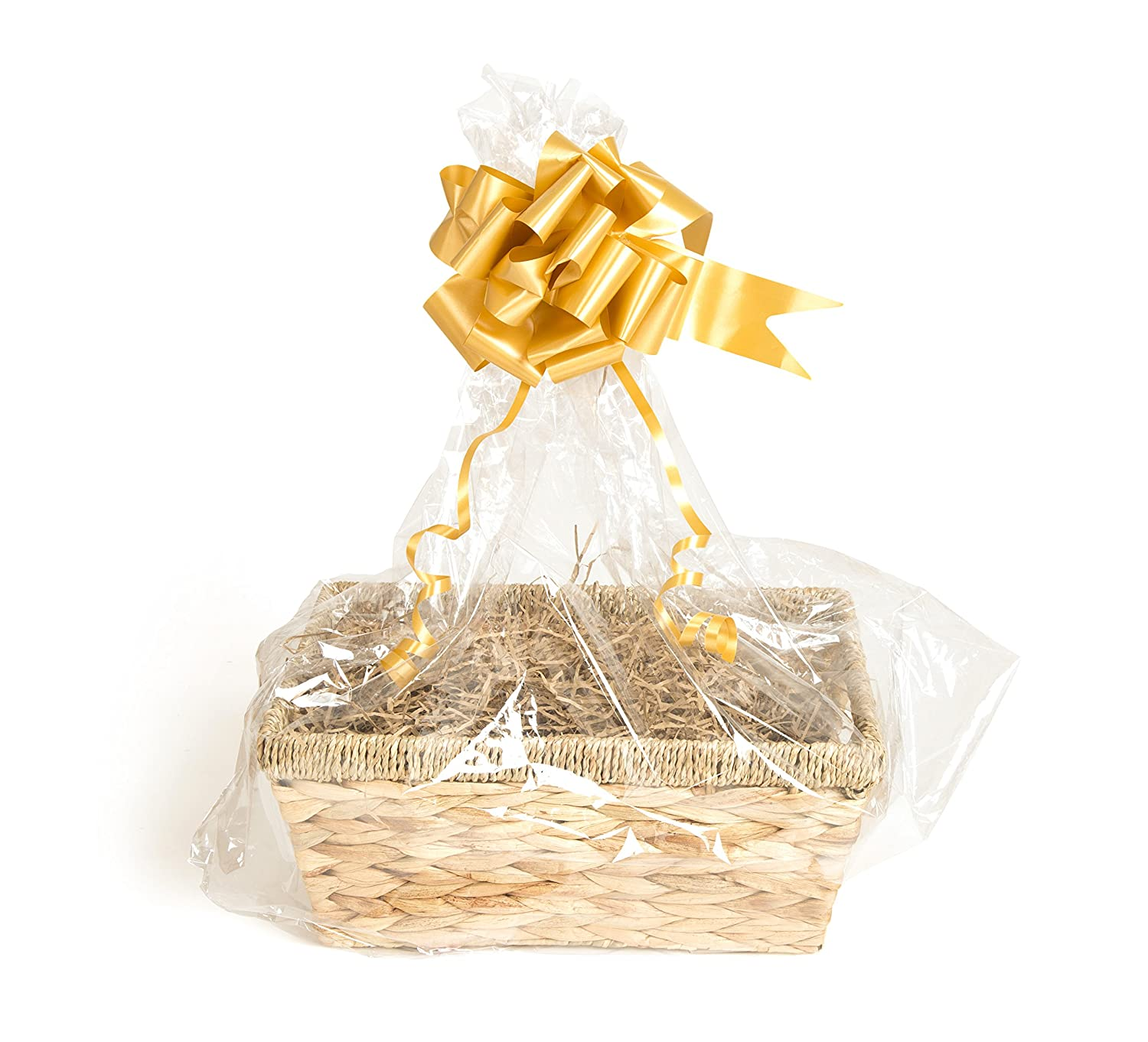 Your Gift Basket - Natural Straw Basket & DIY Hamper Kit with Light Brown Shred, Gold Bow and Clear Gift Wrap