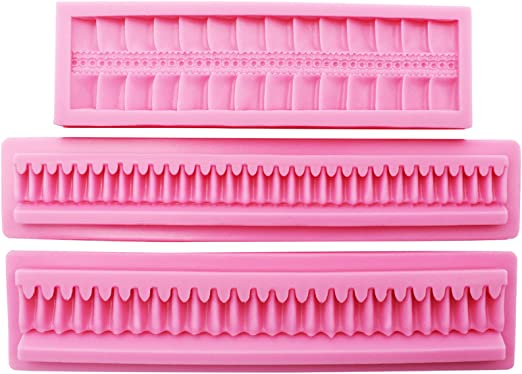 Polymer Clay Soap Wax Making Crafting Projects for Sugarcraft Cupcake Topper Funshowcase Pleat Cake Border Fondant Silicone Molds 3 in Set