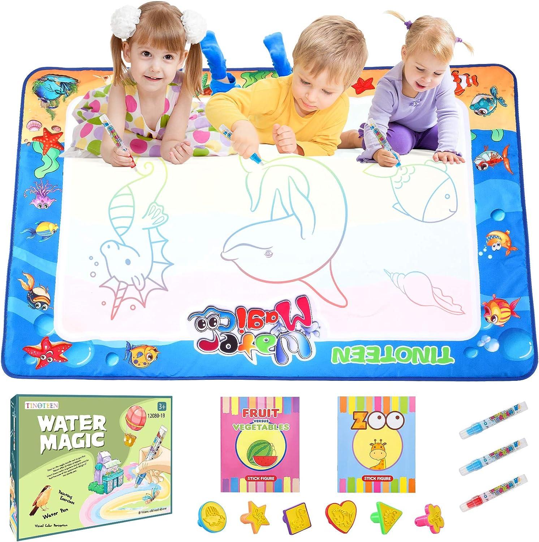 TINOTEEN Alfombrilla de Dibujo al Agua Alfombrilla de Dibujo con Dibujo de Agua 47,2 * 31,5 Pulgadas Alfombrilla de Pintura de Dibujo Reutilizable Juguetes educativos niños de 3 años o más