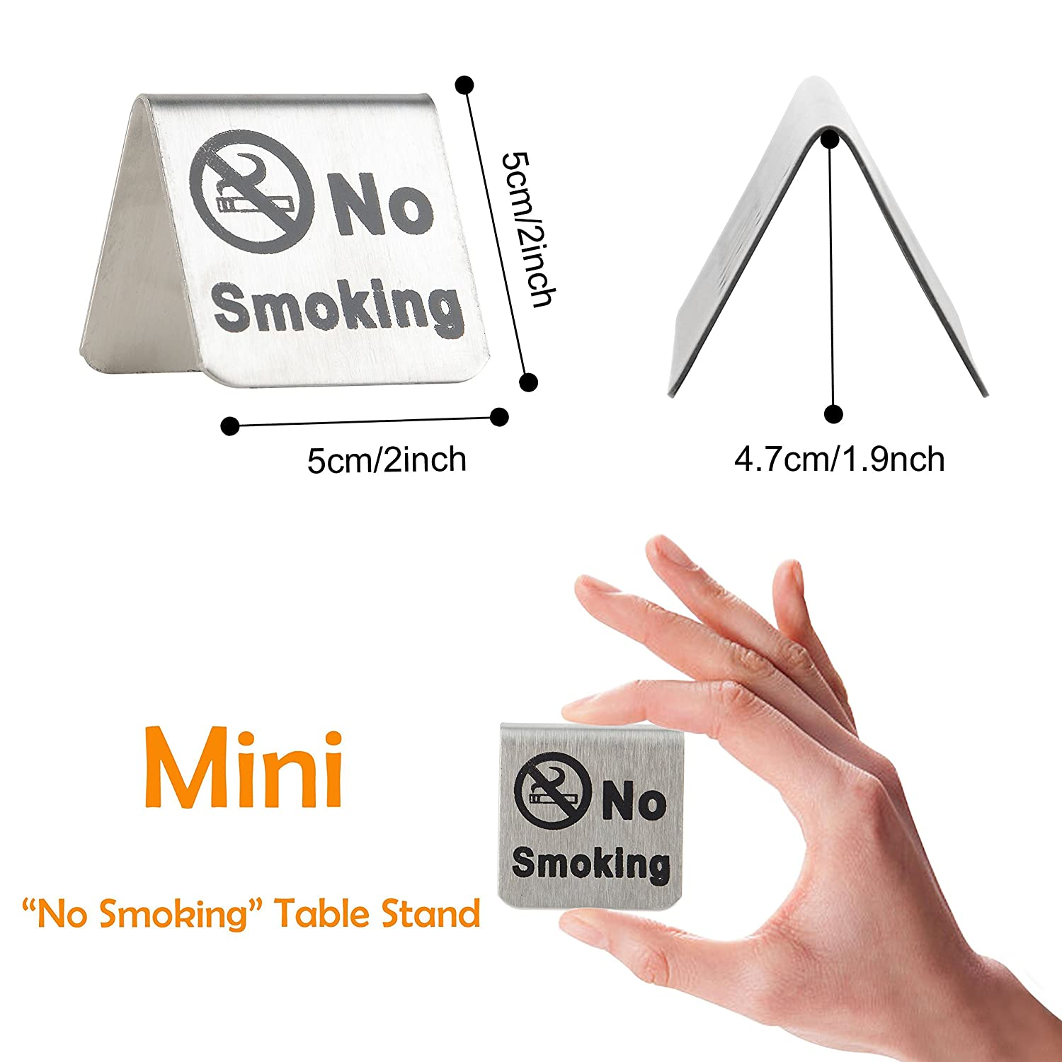 no smoking sign brushed stainless steel free standing table top