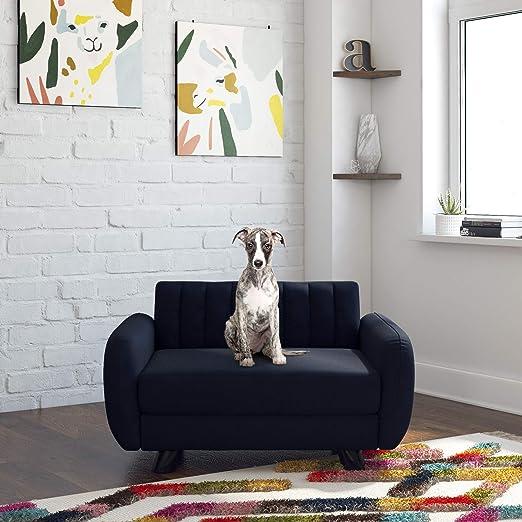 Novogratz 6251619N Brittany, Small/Medium Pet Bed, Blue Linen Sofas