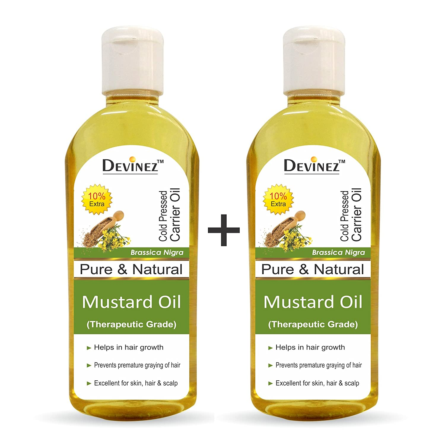 Buy Devinez Mustard Oil 110ml X 2 100 Pure Natural Undiluted Therapeutic Grade Coldpressed Oil For Hair Skin Care Online At Low Prices In India Amazon In