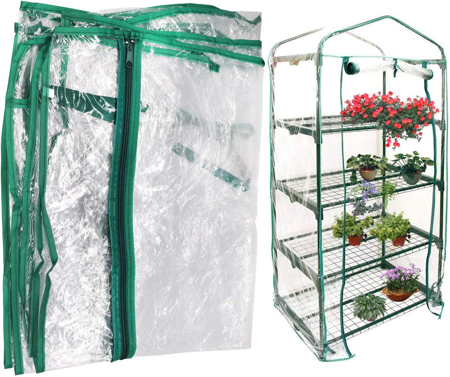 Together-life Mini Greenhouse Transparent PVC Cover Portable Small Greenhouses Cover wih Roll-Up Zipper Door, Waterproof Garden Green House Tent(Iron Stand not Include)