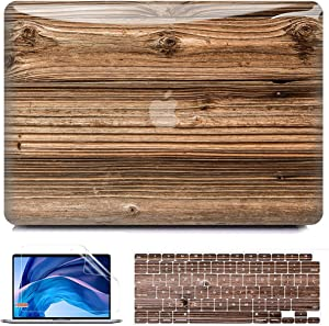 B BELK Compatible with MacBook Air 13 Inch Case 2020 2019 2018 Release M1 A2337 A2179 A1932 Touch ID, Wood Plastic Hard Shell Case + Keyboard Cover + Screen Protector, MacBook Air 2020 Case Retina