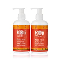 Koji White Kojic Acid & Papaya Body Lotion Skin Brightening Gift Box Set 2-Pack for Women - Nourishing, Skin Radiance, Rejuvenate Skin Cells - Quick Absorbing - 8.45 Fl Oz Bottle