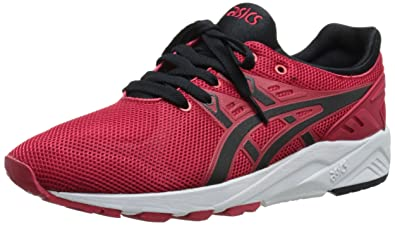 ASICS Gel Kayano Trainer Evo Retro Running Shoe, Red/Black, 4 M US