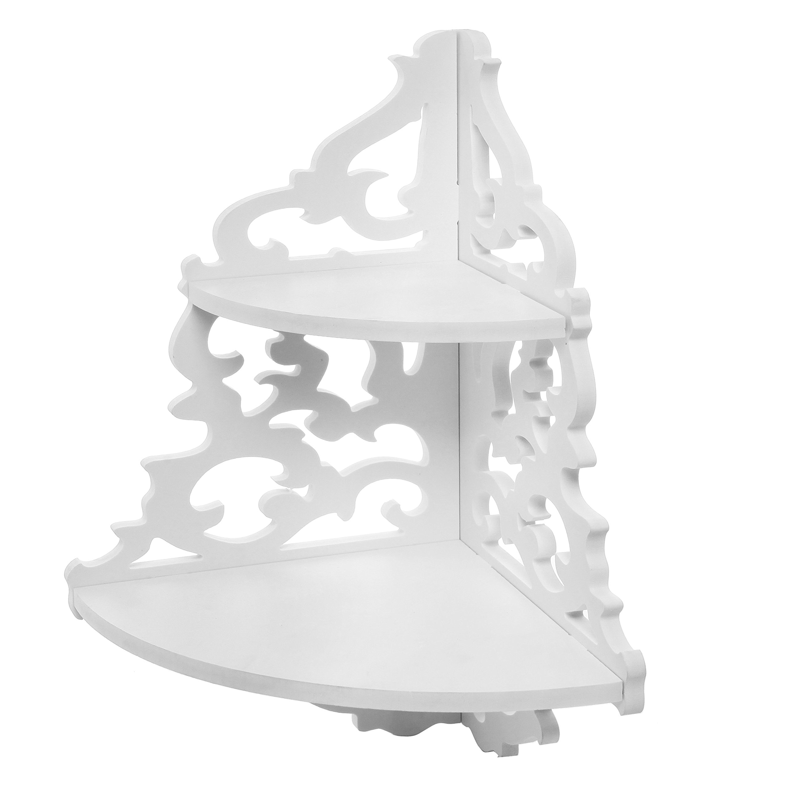 MyGift 2 Tier White Wall Mounted Pastoral Carved Floating Corner Shelf/Plant & Decor Display Rack