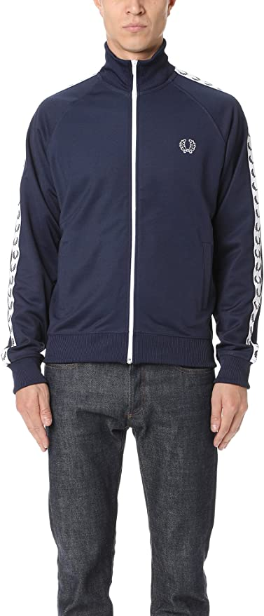 Fred Perry Sports Laurel Taped Track Jacket CARBON BLUE Small ...