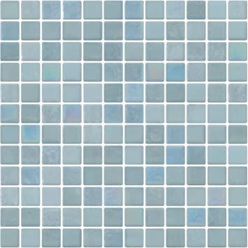 Susan Jablon Mosaics 1 Inch Sky Blue Glow in The Dark Recycled Glass Tile