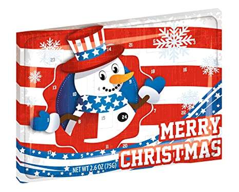 Amerikanischer Schokoladen Adventskalender - MERRY CHRISTMAS - Design - Leckere Adventskalender Snacks - Ausgefallener Advent